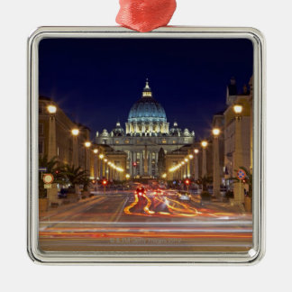 St Peter s Basilica toward end of road at night Ornament