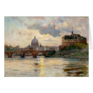 St Peter's Rome From The Tiber Card