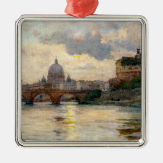 St Peter's Rome From The Tiber Christmas Tree Ornaments