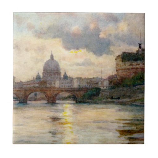 St Peter's Rome From The Tiber Small Square Tile