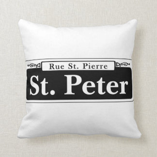 St. Peter St., New Orleans Street Sign Throw Pillow