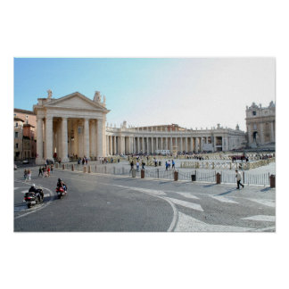 St Peter's Basilica and Columns in Vatican City. Poster