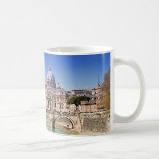 St. Peter's Basilica And Ponte Sant Angelo Classic White Coffee Mug