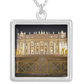 St Peter's basilica at night Square Pendant Necklace