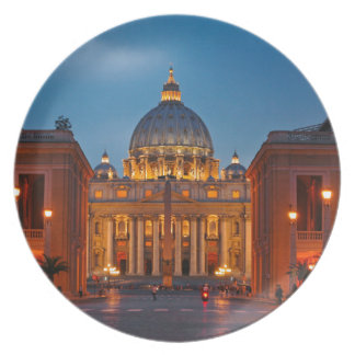 St. Peter's Basilica in Rome - Italy Plate