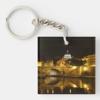 St. Peters Basilica in Vatican City at Night Keychain