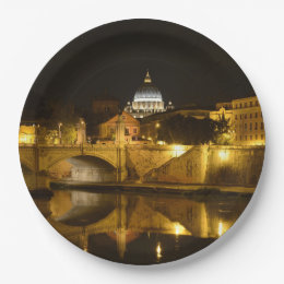 St. Peters Basilica in Vatican City at Night Paper Plate