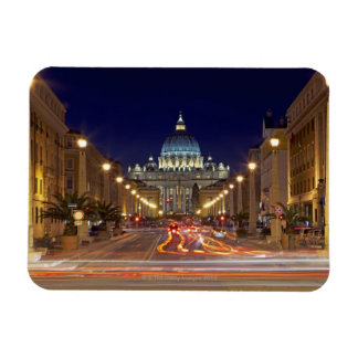 St Peter's Basilica toward end of road at night Magnet