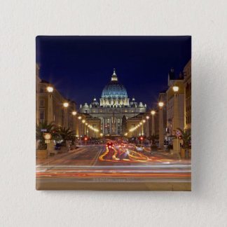 St Peter's Basilica toward end of road at night Pinback Button