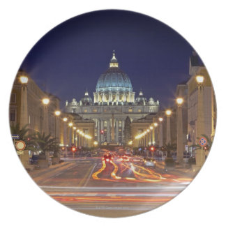 St Peter's Basilica toward end of road at night Dinner Plate