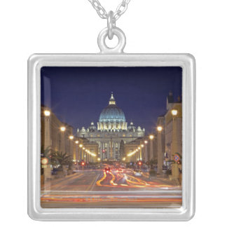 St Peter's Basilica toward end of road at night Square Pendant Necklace