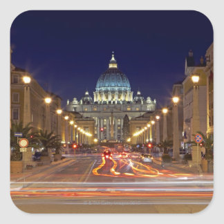 St Peter's Basilica toward end of road at night Square Sticker