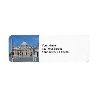 St Peter's Basilica- Vatican City Return Address Label