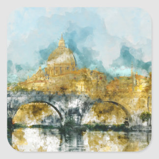 St. Peters Basilica Vatican in Rome Italy Square Sticker