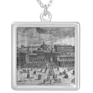 St. Peter's Church, from 'Views of Rome' Square Pendant Necklace