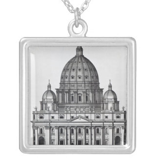 St. Peter's, Rome, engraved by C. Campbell Silver Plated Necklace