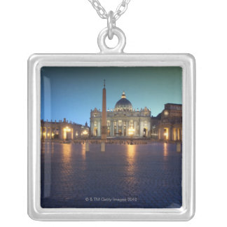 St Peters Square, Rome, Italy Square Pendant Necklace