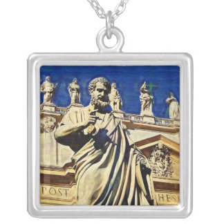 St. Peters Square Rome Italy Square Pendant Necklace