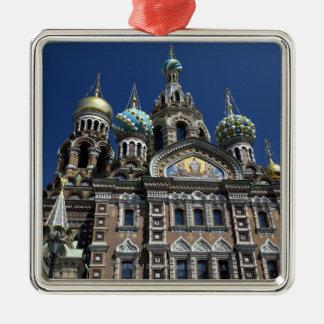 St Petersburg church, Russia Square Metal Christmas Ornament