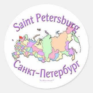 St. Petersburg City Russia Map Classic Round Sticker