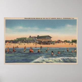 St Petersburg, FL - vista de la isla del tesoro Impresiones