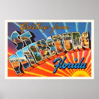 St Petersburg Florida FL Vintage Travel Souvenir Poster