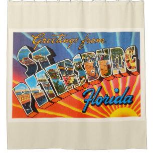 St Petersburg Florida FL Vintage Travel Souvenir Shower Curtain