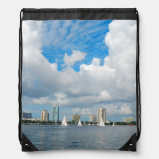 St. Petersburg Florida Sailing with the Clouds Drawstring Bag