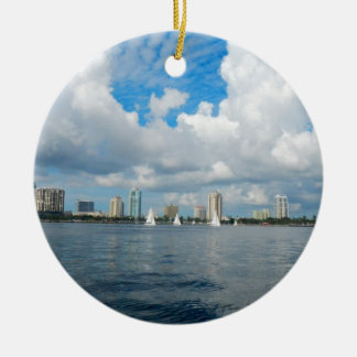 St. Petersburg Pier and Skyline Ceramic Ornament
