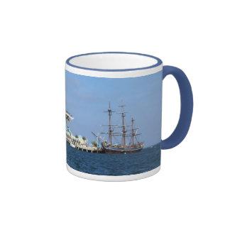 St Petersburg Pier & HMS Bounty Ringer Coffee Mug