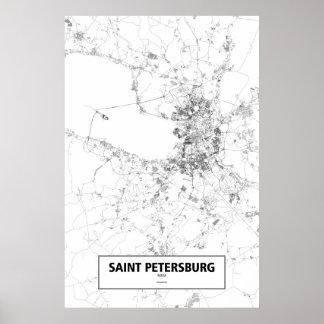 St Petersburg, Rusia (negro en blanco) Póster