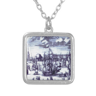 St. Petersburg. View of the Peter and Paul Fortres Square Pendant Necklace