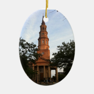 St. Philip's Episcopal Church Charleston Double-Sided Oval Ceramic Christmas Ornament