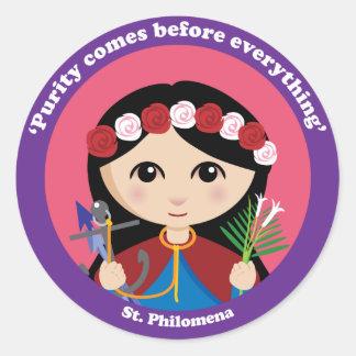 St. Philomena Pegatina Redonda