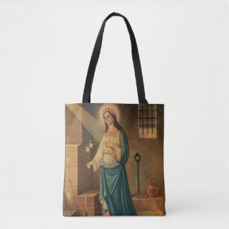 St. Philomena Pink Roses Lily Anchor Tote Bag