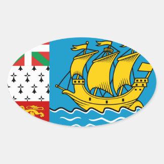 St. Pierre et Miquelon Flag Oval Sticker