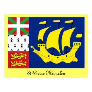 St Pierre Miquelon flag Postcard