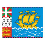 St Pierre y bandera de Miquelon Tarjetas Postales