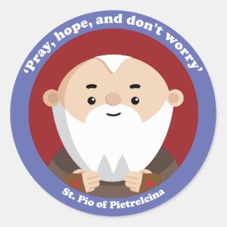 St Pio de Pietrelcina Etiqueta Redonda