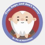 St Pio de Pietrelcina Pegatina Redonda