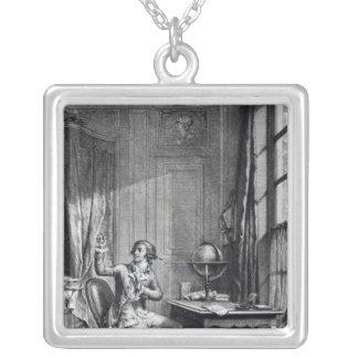 St. Preux Receiving the Portrait of Julie, Square Pendant Necklace