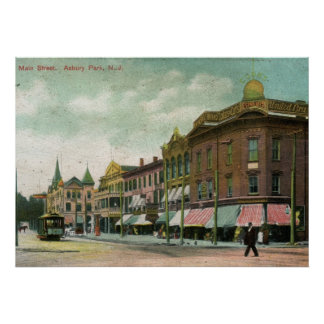 St. principal, parque de Asbury, vintage 1906 de N Póster