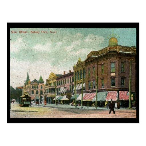 St. principal, parque de Asbury, vintage 1906 de N Tarjeta Postal