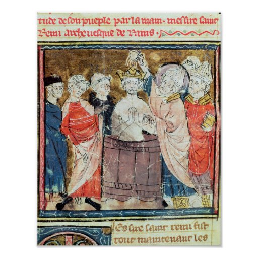 St. Remigius, Bishop of Rheims  baptising Print