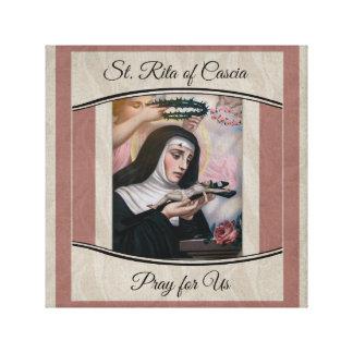St. Rita of Cascia Thorns Roses Crucifix Canvas Print