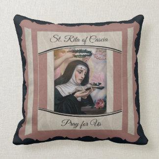 St. Rita of Cascia Thorns Roses Crucifix Throw Pillow
