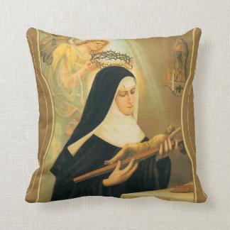 St. Rita of Cascia w/Crown of Thorns Angel Throw Pillow