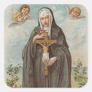 St. Rita of Cascia w/crucifix  angels roses Square Sticker