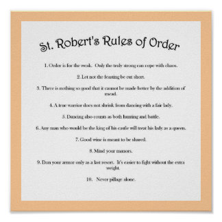 St. Robert's Rules of Order Poster