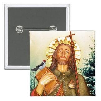St.Rocco - St. Roch - botón del navidad de San Roc Pin Cuadrado